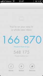 """Jeg har """"trukket kølapp"""" for å få meg Mailbox-appen. På 2 1/2 døgn har tallet på personer foran meg i køen sunket med nærmere 50.000, så det er vel håp om at jeg snart kan ta appen i bruk og teste den."""