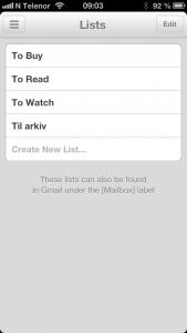 """Jeg har valgt å kun legge til """"Til arkiv"""" som liste i Mailbox."""