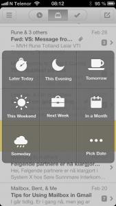Elegante skjermvalg når du skal velge tidspunkt for å få meldingen tilbake i innboks