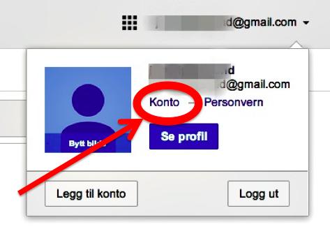 NB! Det er innstillingen til din Google-konto du må klikke på, ikke innstillingene i Gmail